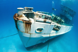 This is the newly-sunk wreck of USS Kittiwake in the Cayman Islands.  Shot with a 10-17mm lens in clear water, you can see the wreck from bow to midships. 